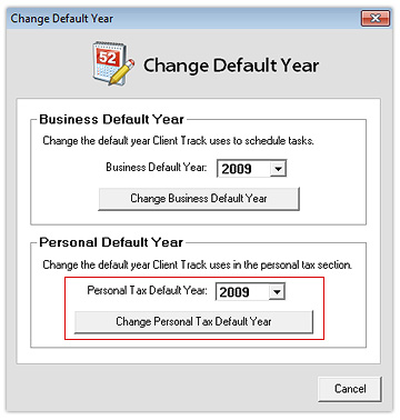 Change Personal Tax Default Year