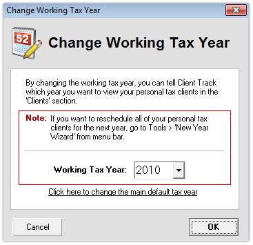 Change Working Tax Year