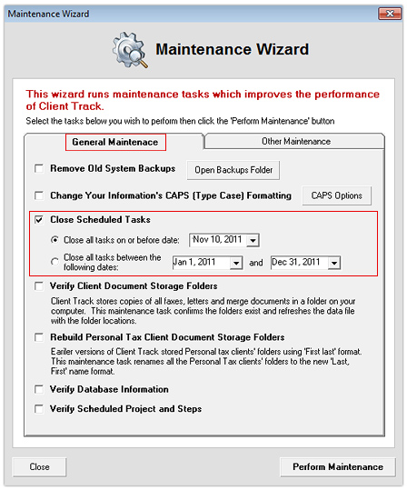 Maintenance Wizard - General Tab