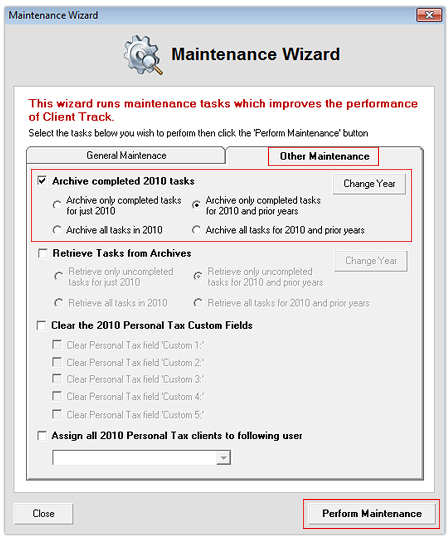 Maintenance Wizard - Other Tab