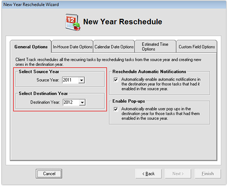 New Year Reschedule Wizard - General Options 