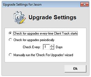 Upgrade Settings Options