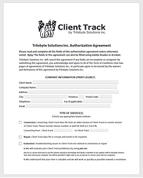 Client Track Authorization Agreement Picture