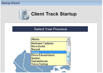 Client Track Startup Screenshot (Select State)