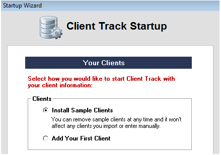 Client Track Startup Screenshot (Sample Clients)